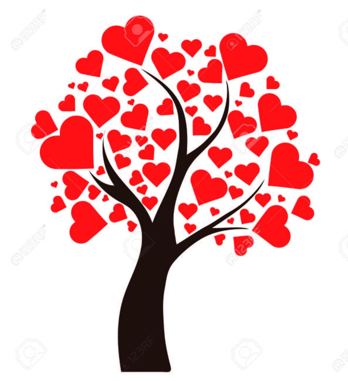 ilustración árbol con corazones fotos retratos imágenes y