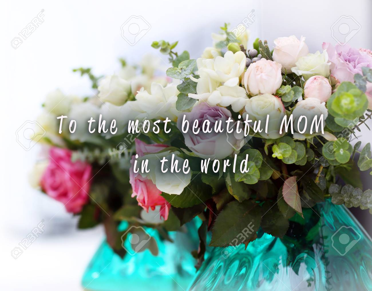 Happy mothers day beautiful bouquet of colourful roses in glass beautiful bouquet of colourful roses in glass vase close up stock izmirmasajfo