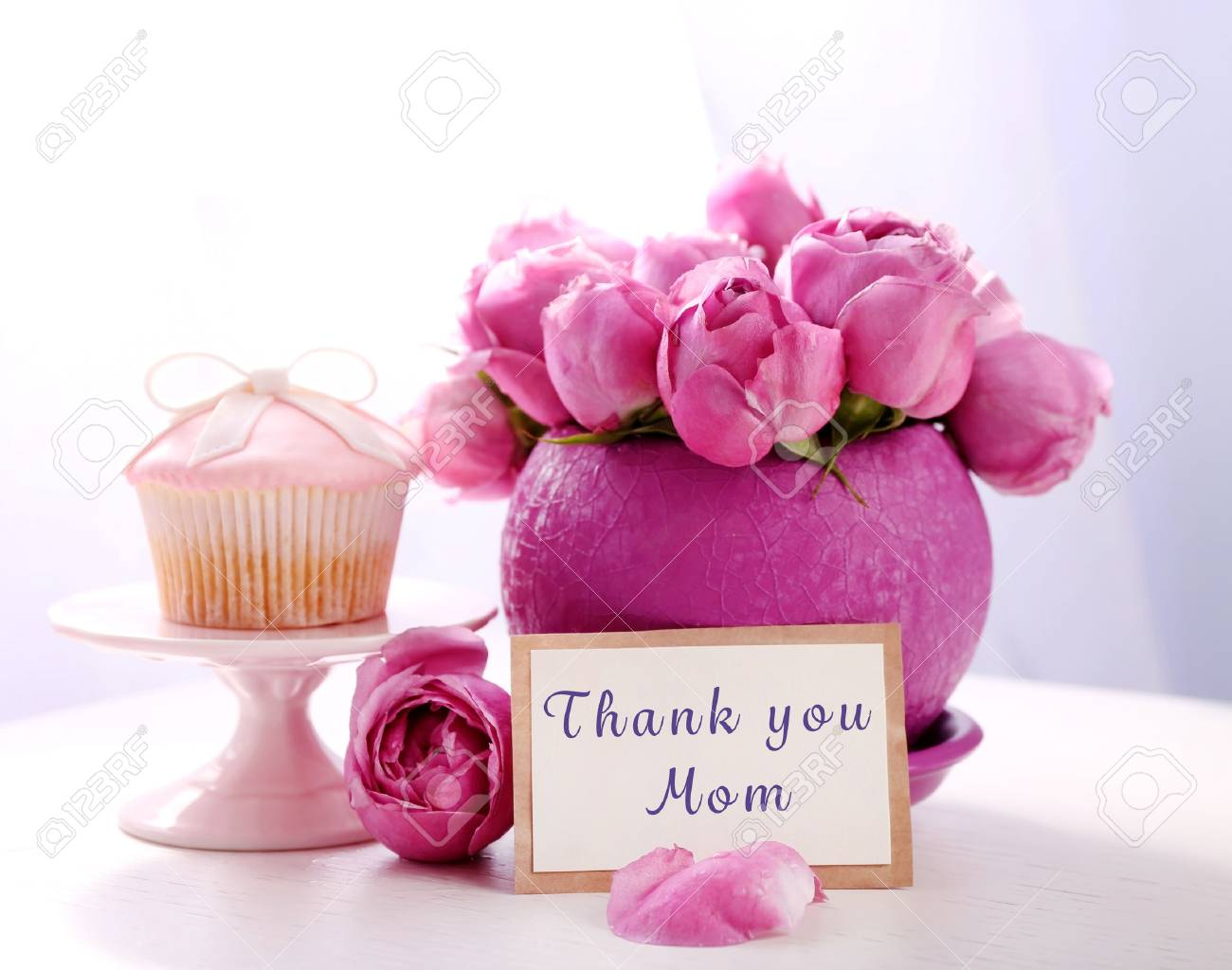 Happy Mothers Day Bouquet Of Roses Gift Card And Cake On Table Stock Photo Picture And Royalty Free Image Image 68275917