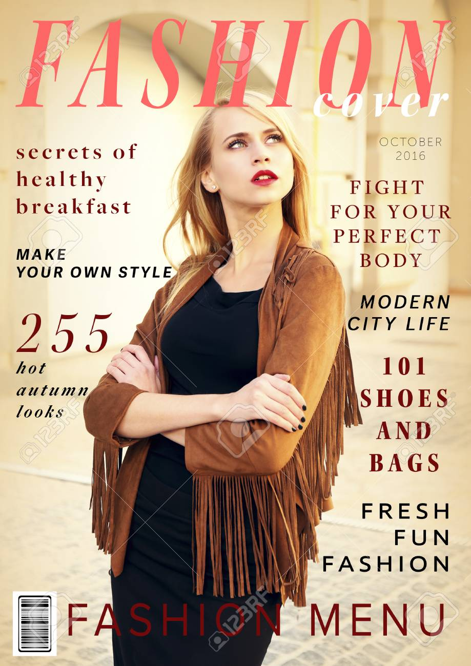 Attractive Young Woman On Fashion Magazine Cover Fashionable Stock Photo Picture And Royalty Free Image Image 102947521
