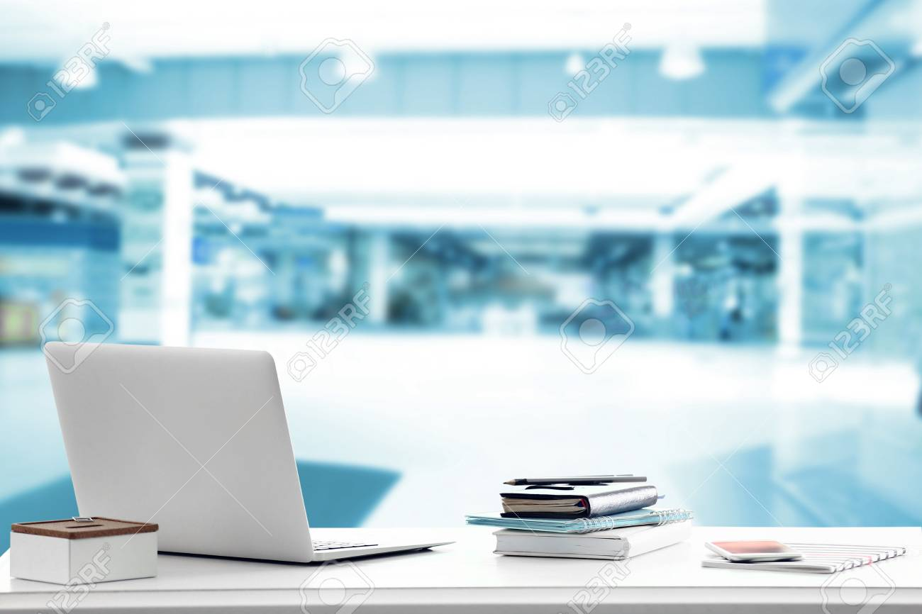 Law Concept Lawyer Workplace With Laptop On Blurred Office