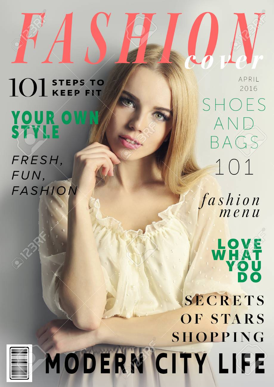Attractive young woman on fashion magazine cover  Fashionable