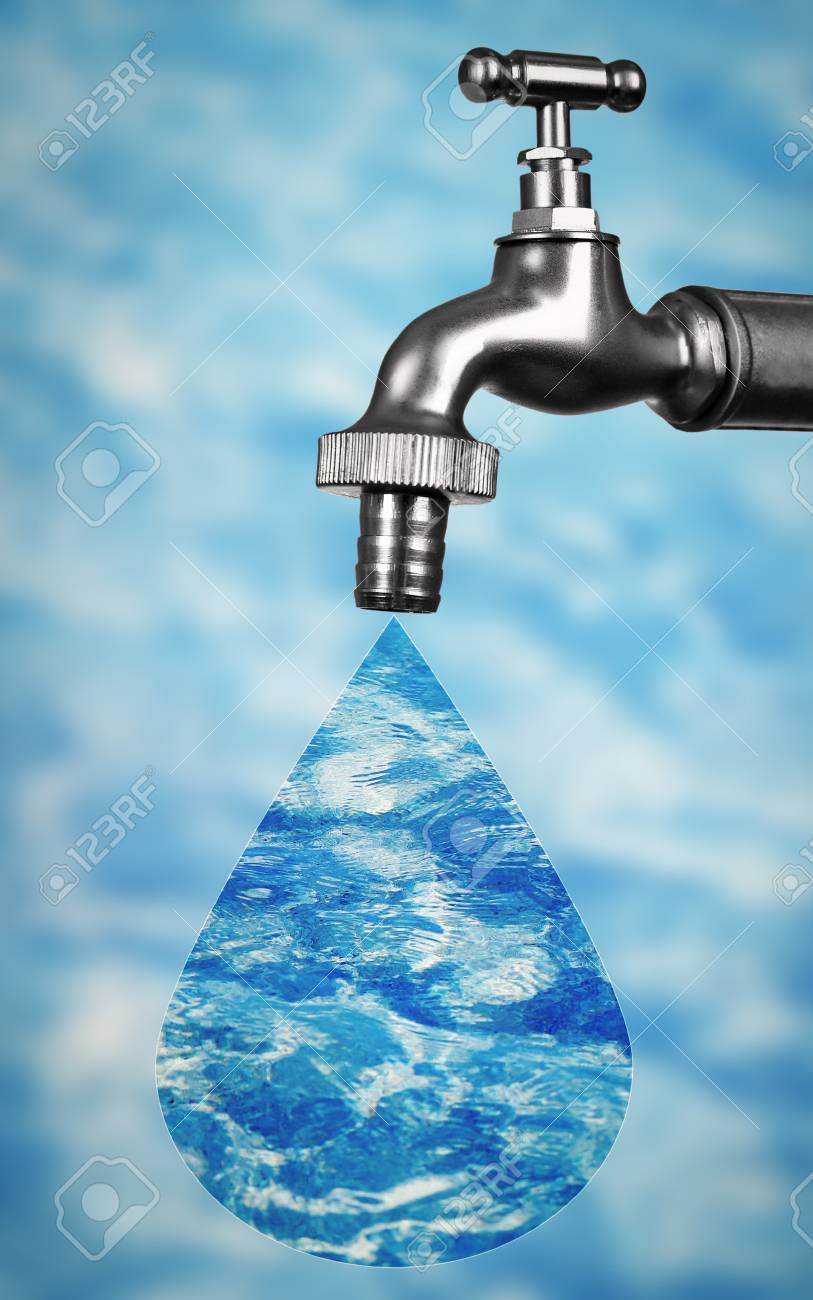 Conservation Water Concept. Metal Faucet With Drop On Blurred ...