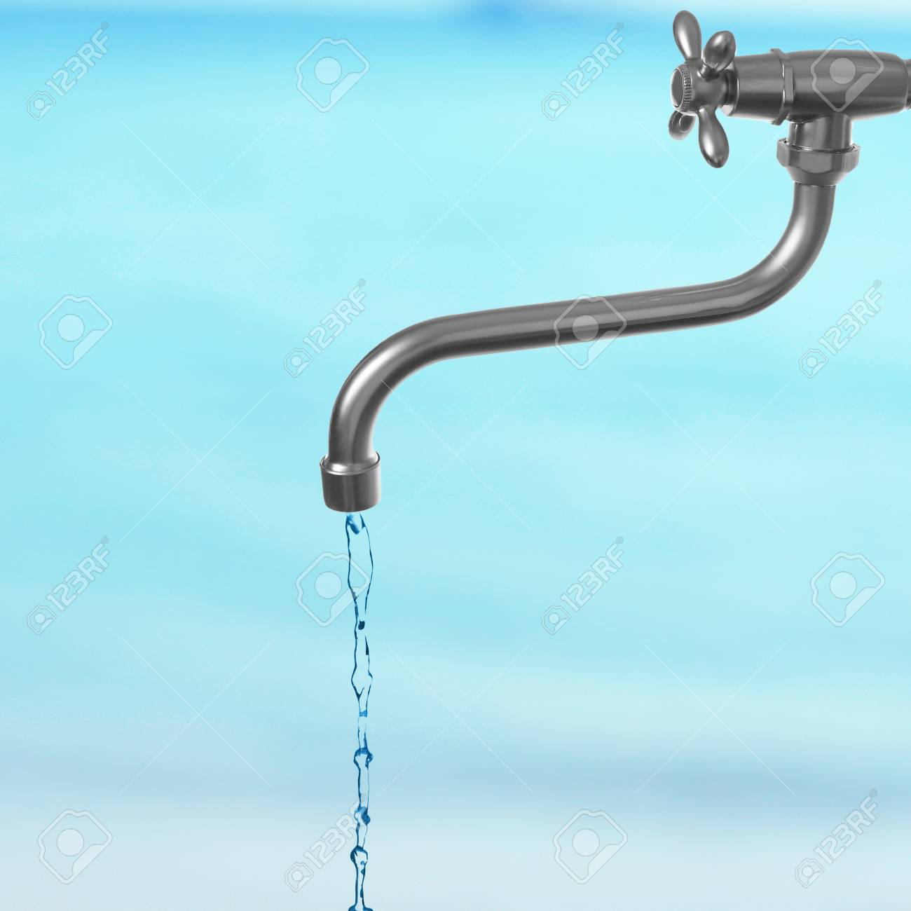 Conservation Water Concept. Metal Faucet With Water Stream On ...