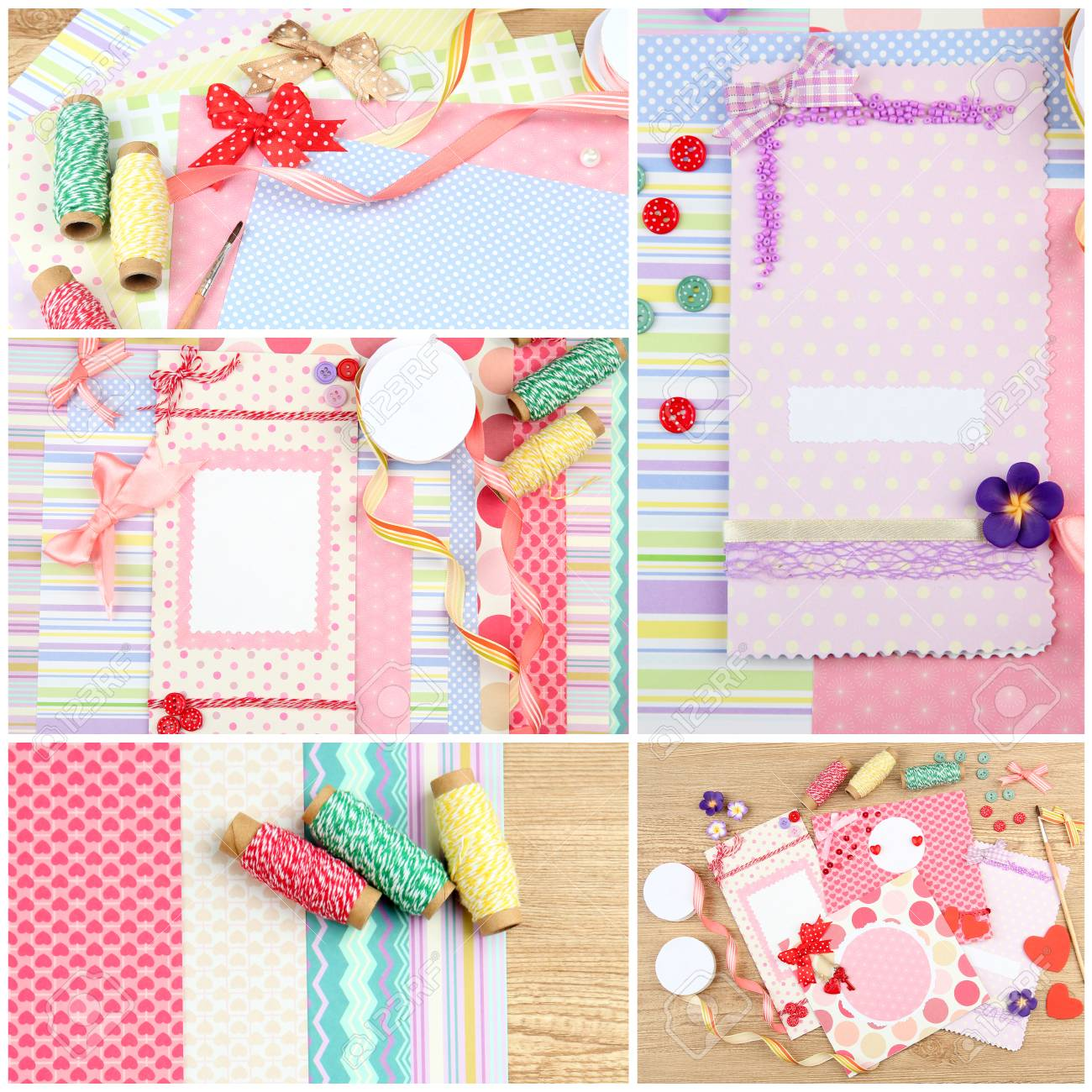 Scrapbooking Collage Handmade Greeting Card Hobby And Handicraft