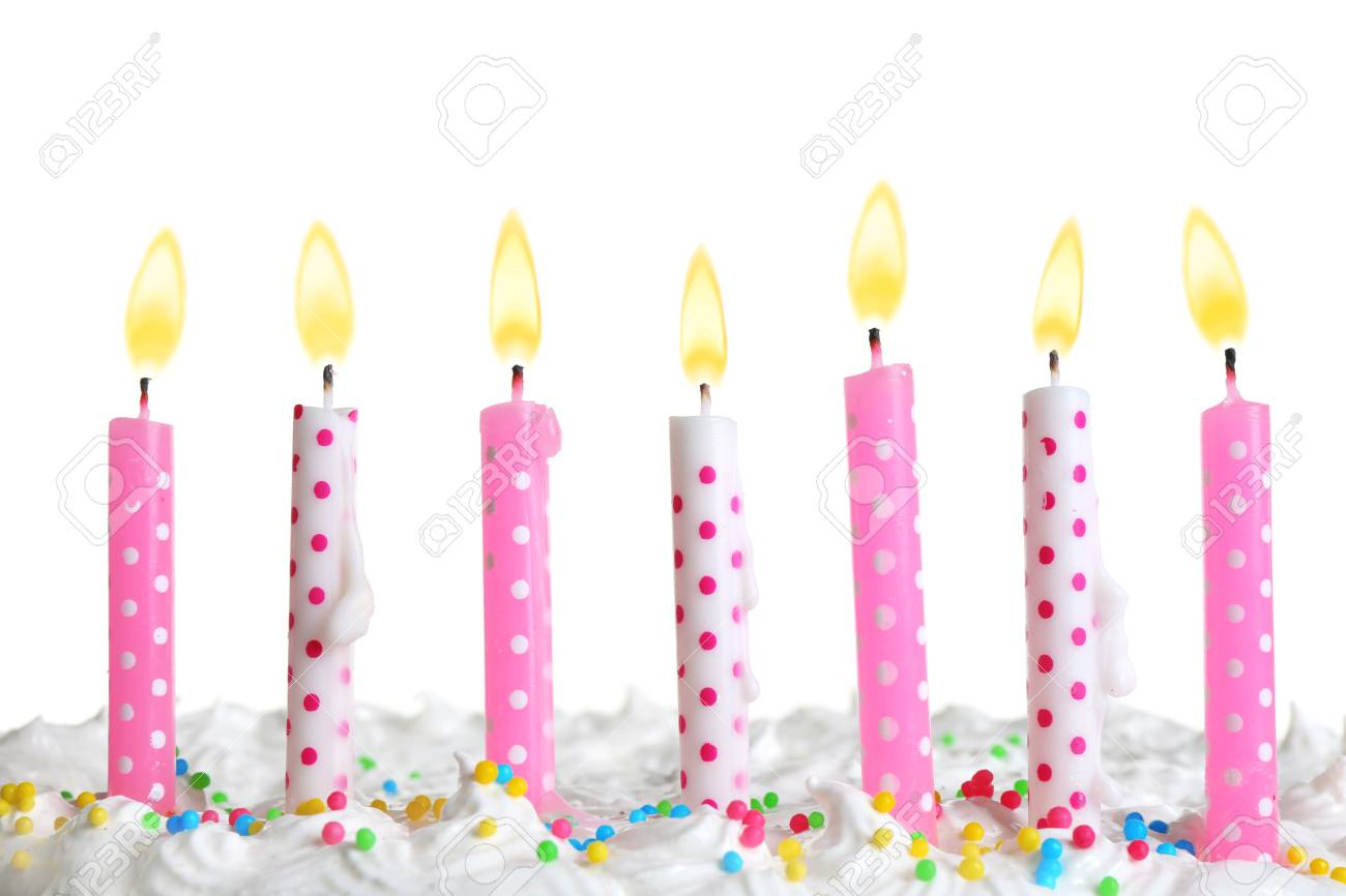 Candles On Birthday Cake Isolated On White Stock Photo Picture And