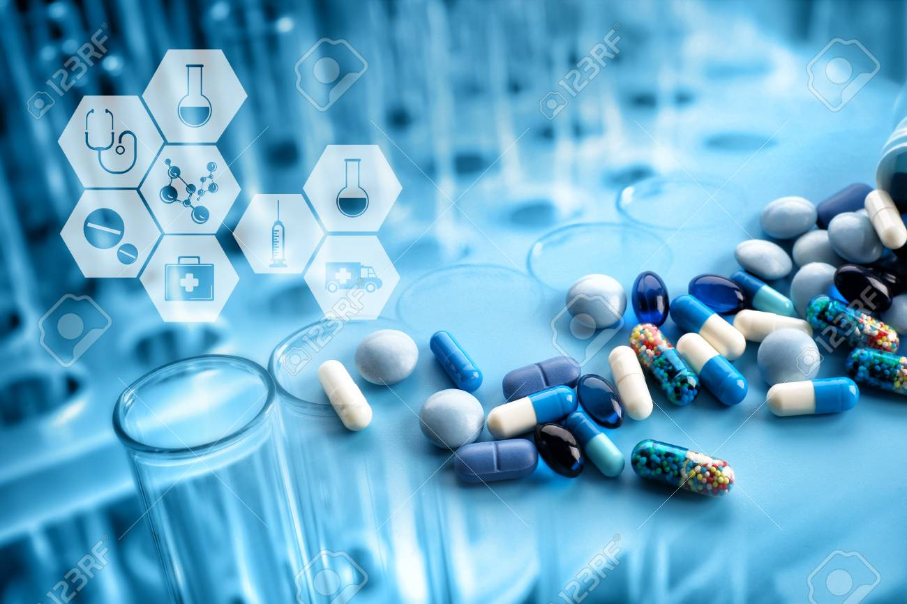 Test tubes with pills and medical icons, closeup. Health care concept. - 83212772