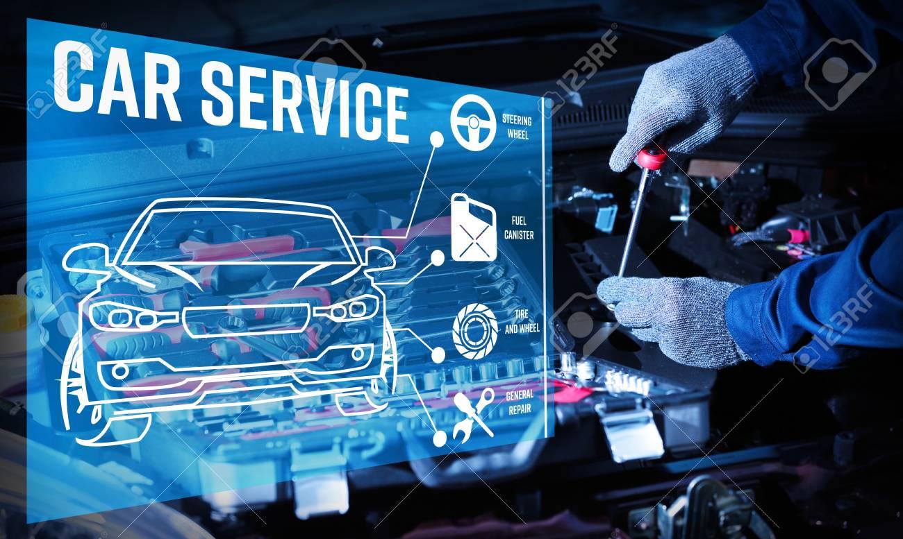Interface of modern car diagnostic program on engine background. Car service concept. - 85866608
