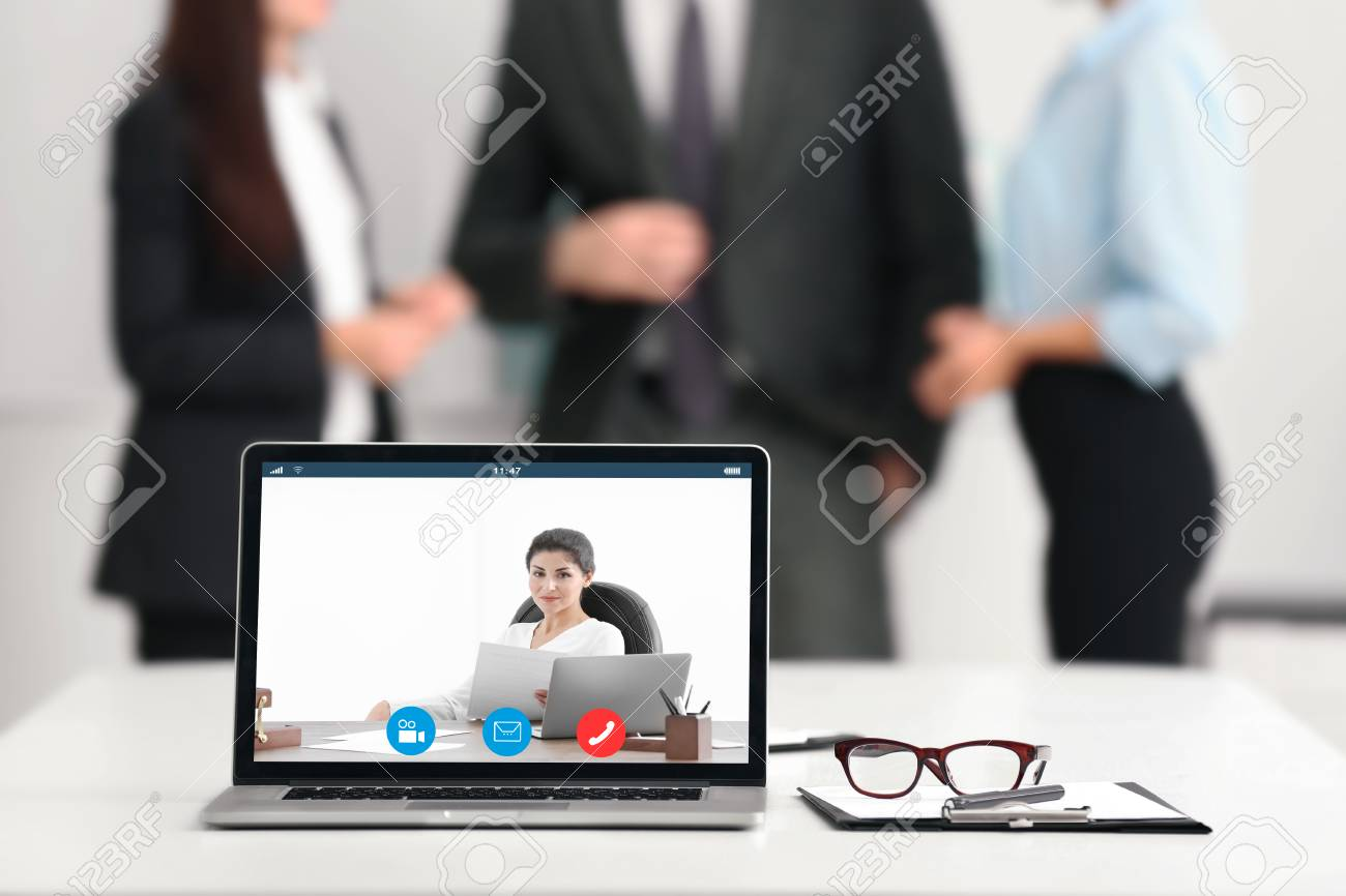 Video conference with lawyer on computer  Video call and online