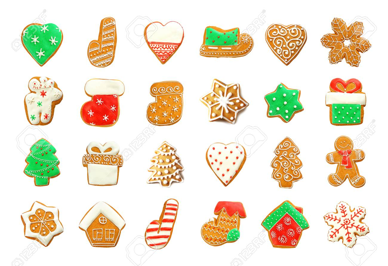 Set Of Delicious Christmas Cookies On White Background Stock Photo ...