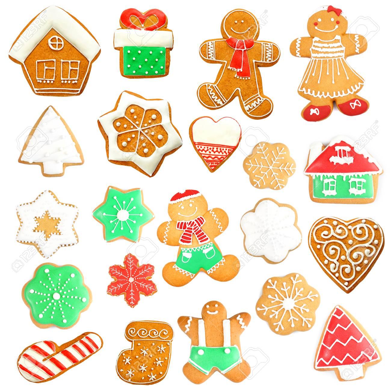 Delicious Christmas Cookies On White Background Stock Photo, Picture ...