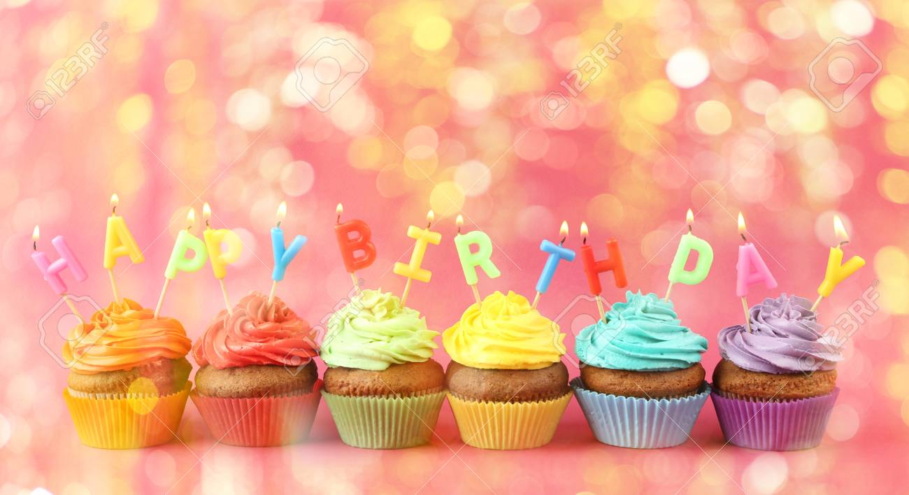 Fine Rainbow Cupcakes With Happy Birthday Candles On Color Background Personalised Birthday Cards Xaembasilily Jamesorg