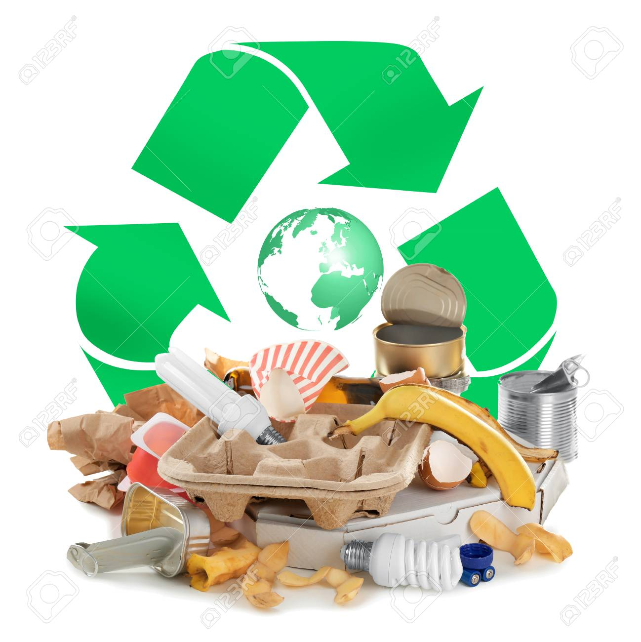 Different types of garbage and recycling sign on white background - 90739338
