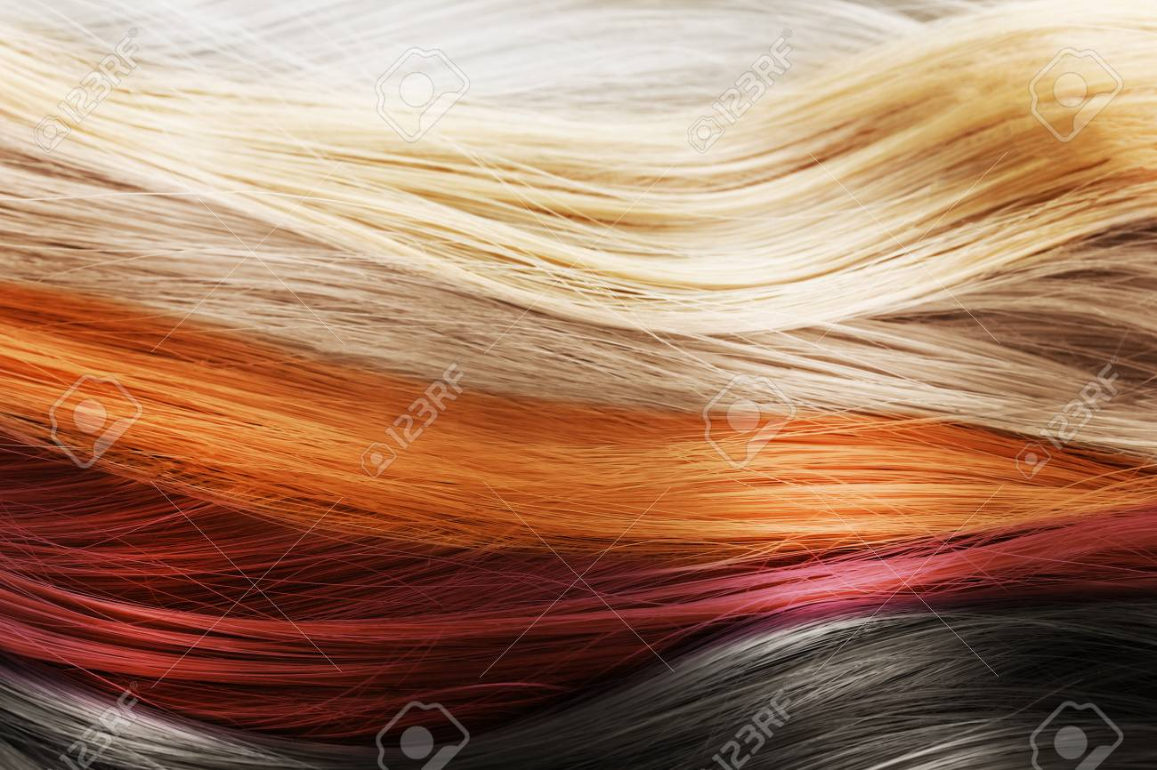 Colorful Hair Background. Hairstyles And Care Concept Stock Photo ...