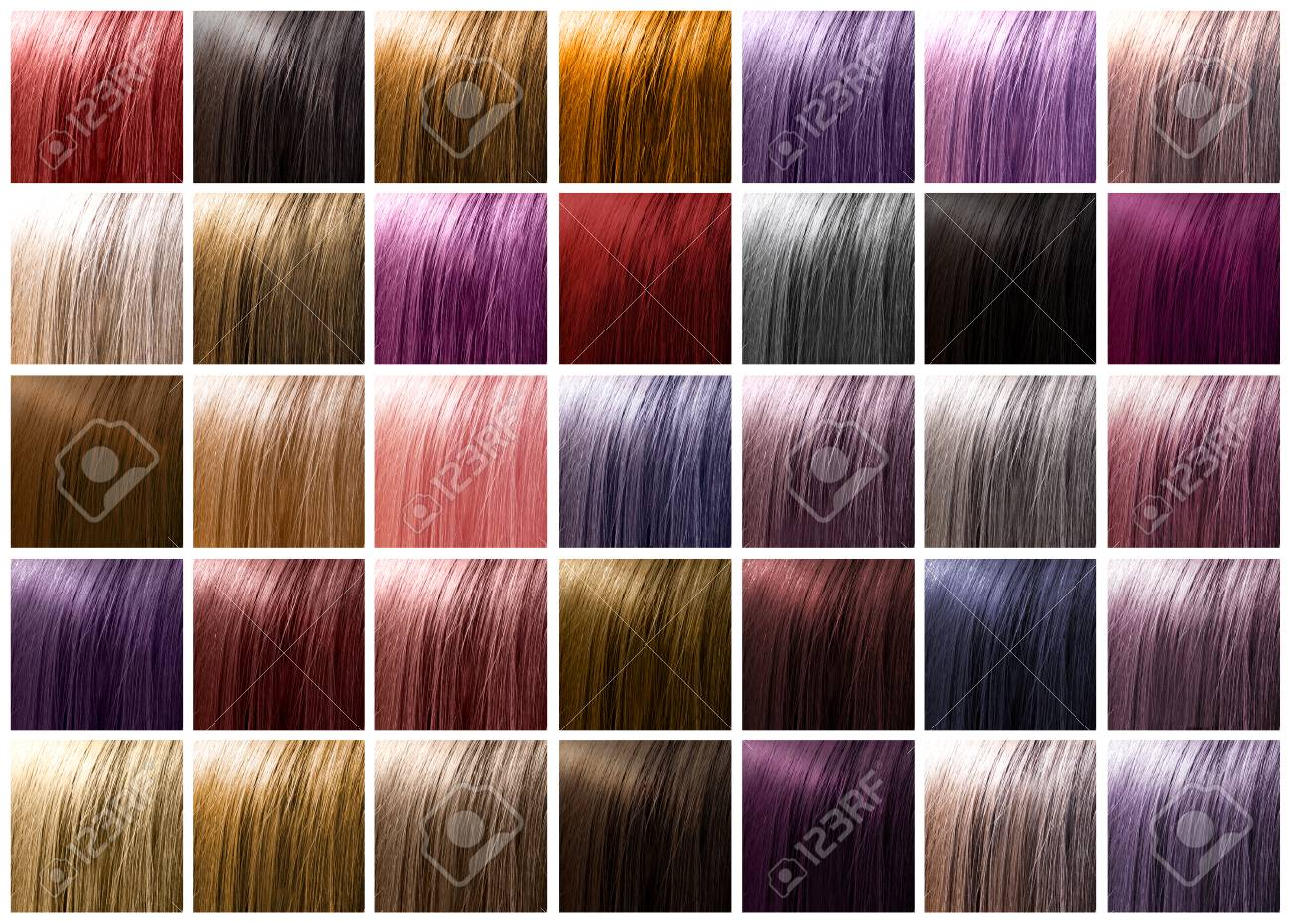 Colorful hair palette background. Hairstyles and care concept