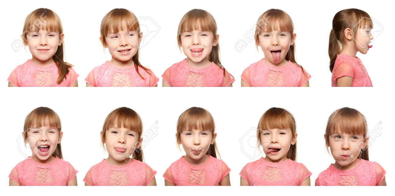 Speech therapy concept  Little girl doing exercises for correct