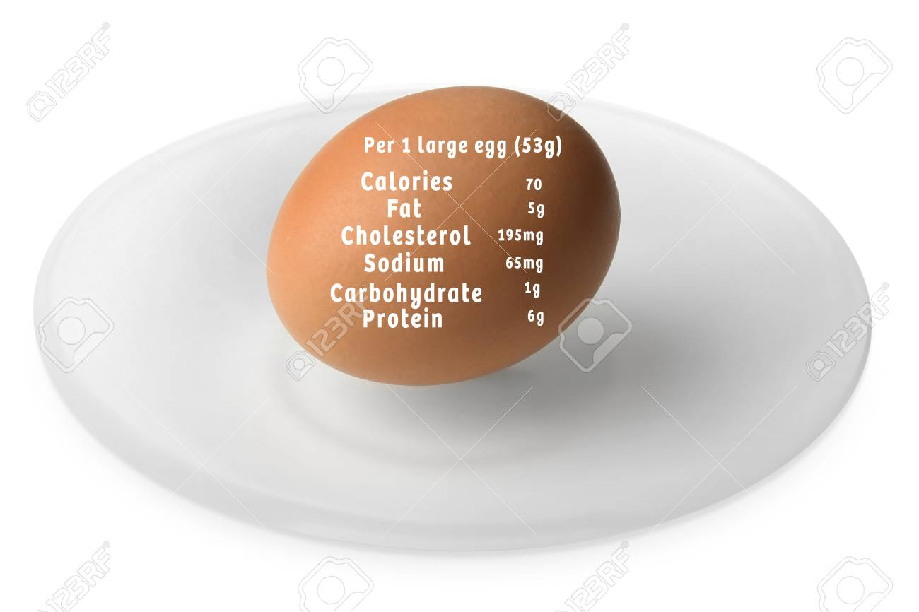 Saucer with raw egg and list of nutrition facts on white background Stock  Photo - 91470485