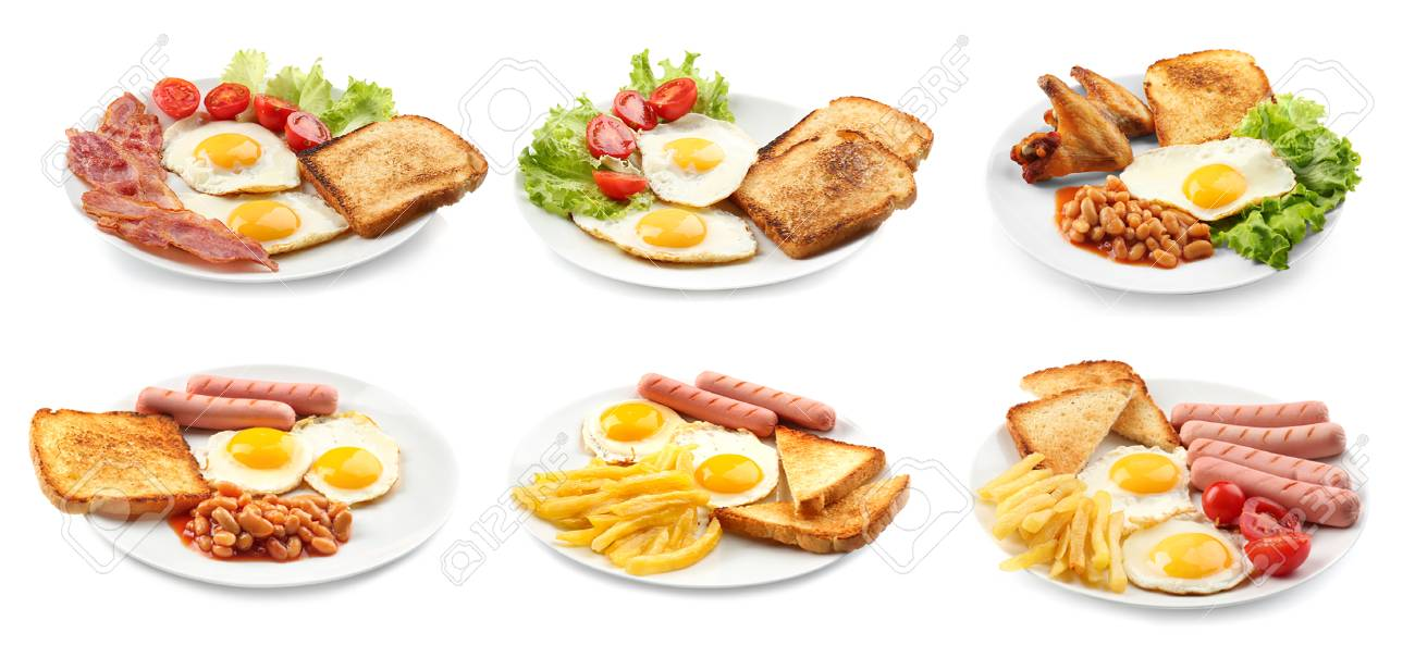 ideas of breakfast with eggs. different dishes on white background