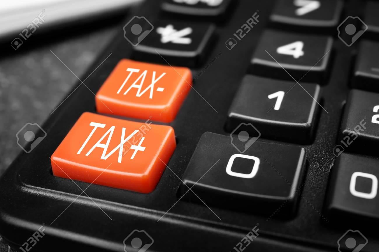 Tax concept. Modern calculator, closeup - 91437084