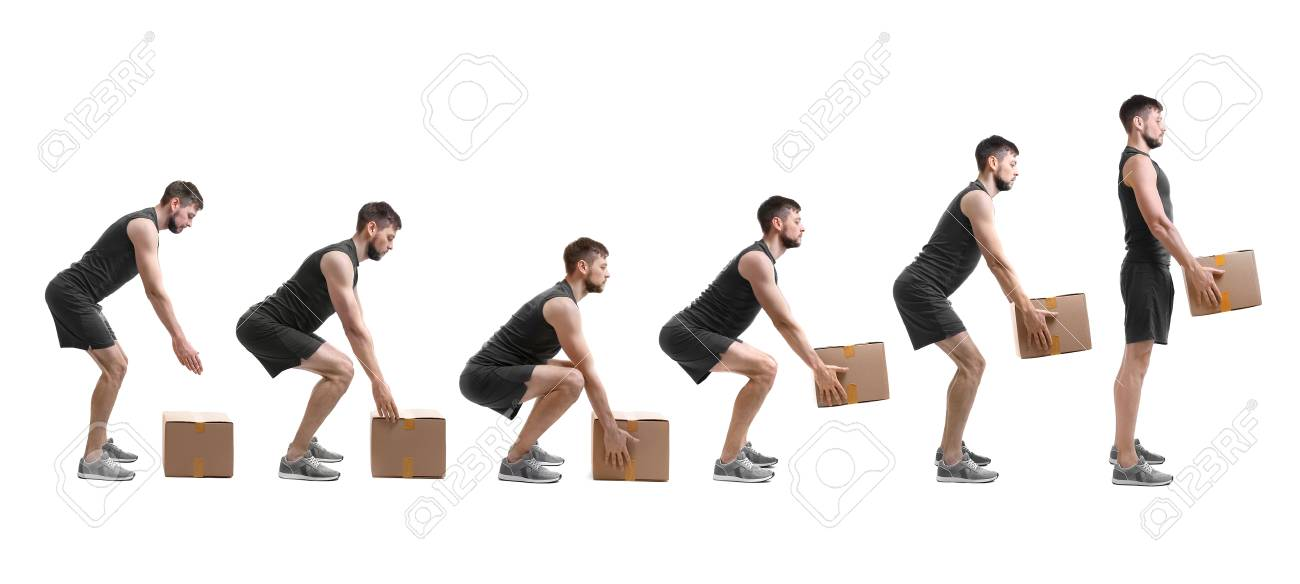 Rehabilitation concept. Collage of man with good posture lifting heavy cardboard box on white background - 102078522