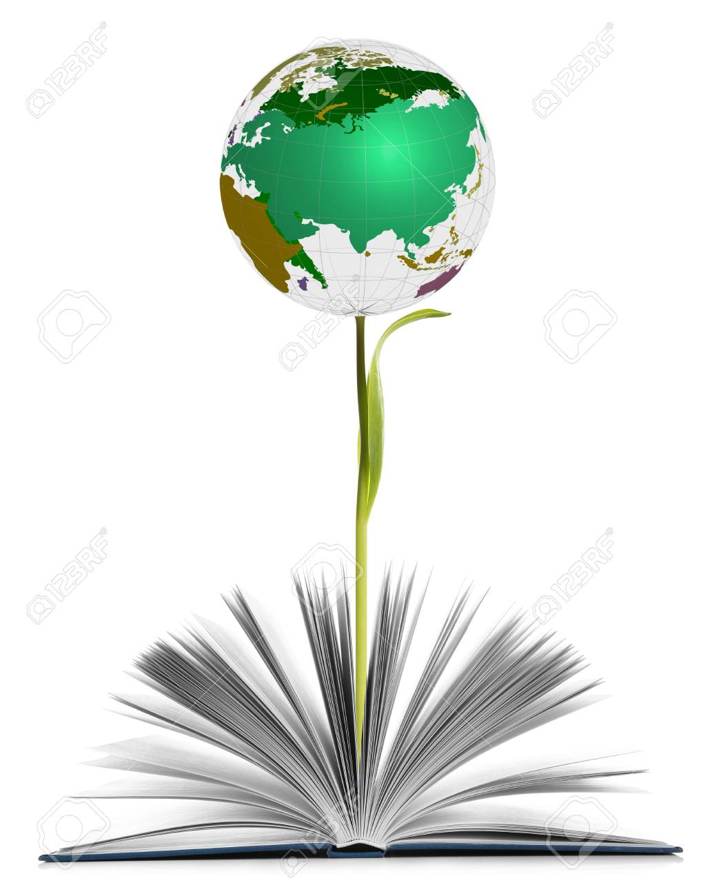 2c37dec242540 Globe growing out of book as flower on white background. World literature  concept Stock Photo