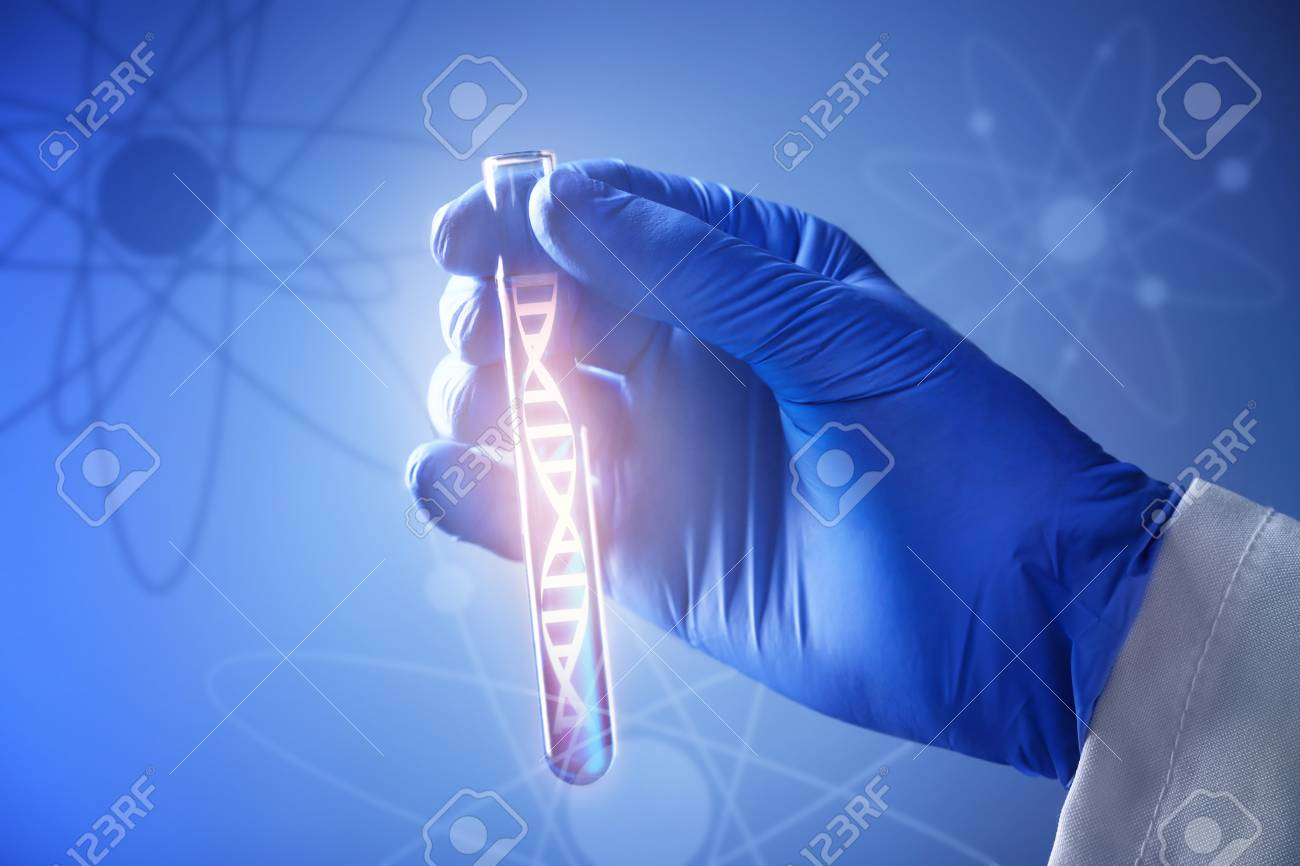 Scientific concept. Laboratory worker holding test tube with liquid on color background - 91440843