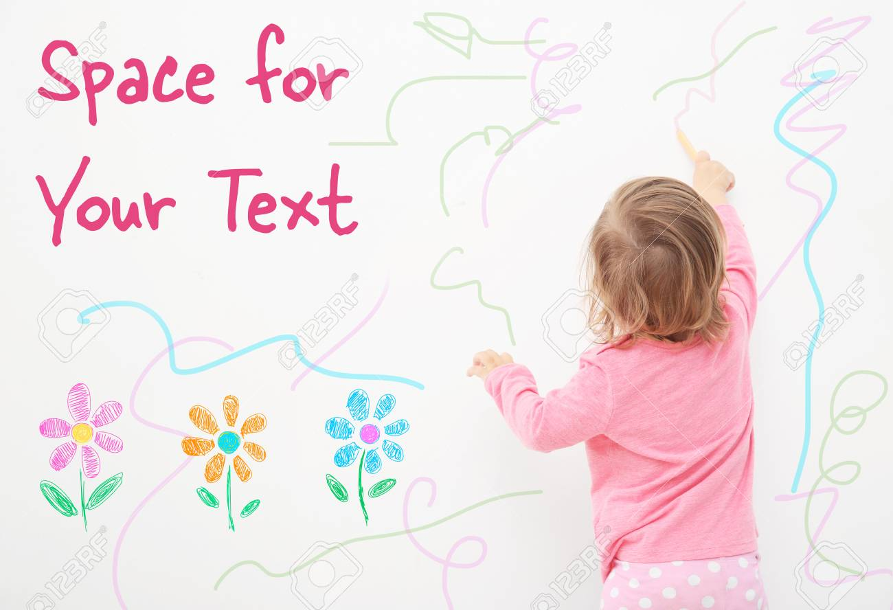 Art concept. Cute little girl drawing on white background with space for design - 91532786