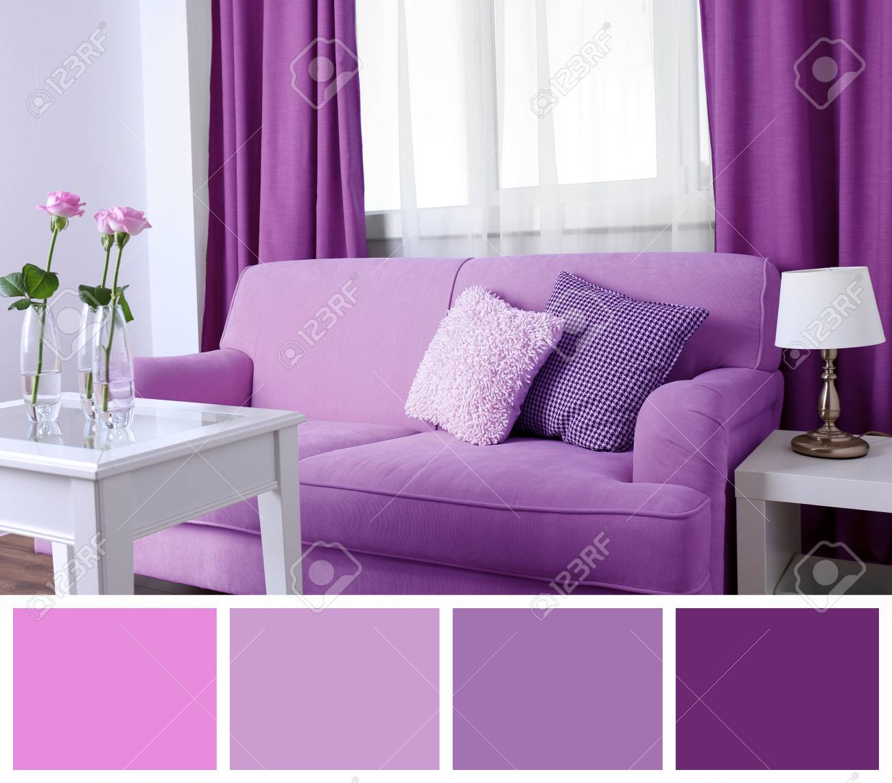 Fine Lilac Color Accent In Modern Interior Comfortable Couch And Download Free Architecture Designs Photstoregrimeyleaguecom