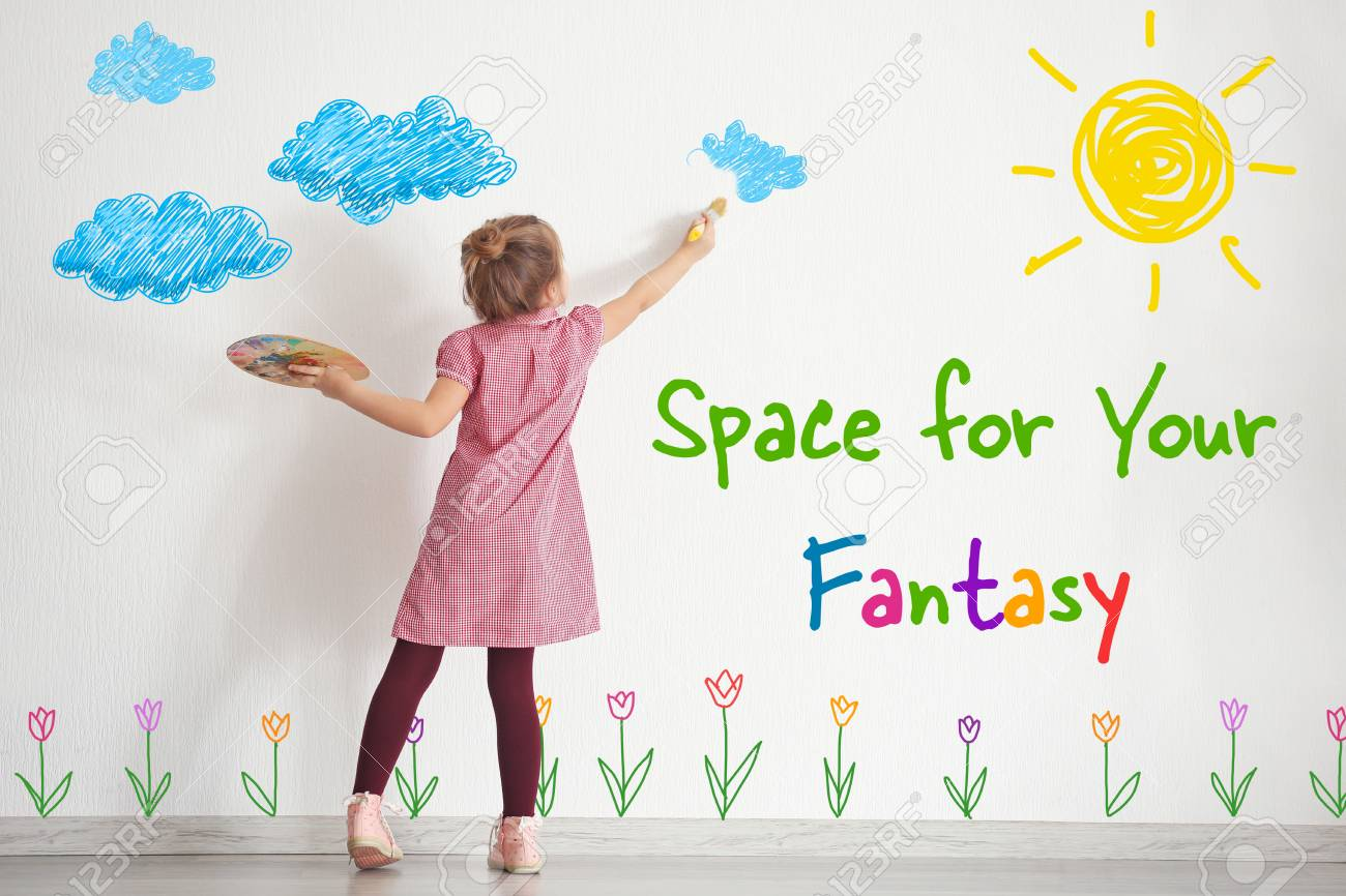 Art concept. Cute little girl drawing on white wall with space for design - 91530176