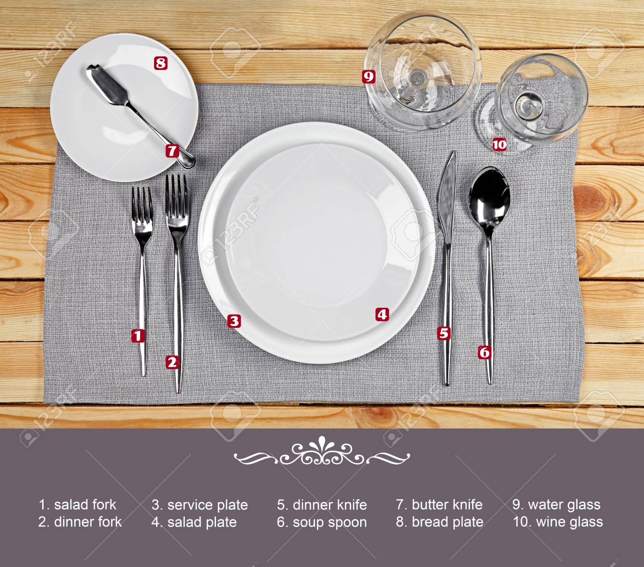 Arrangement Of Dishware And Cutlery On Wooden Background Table