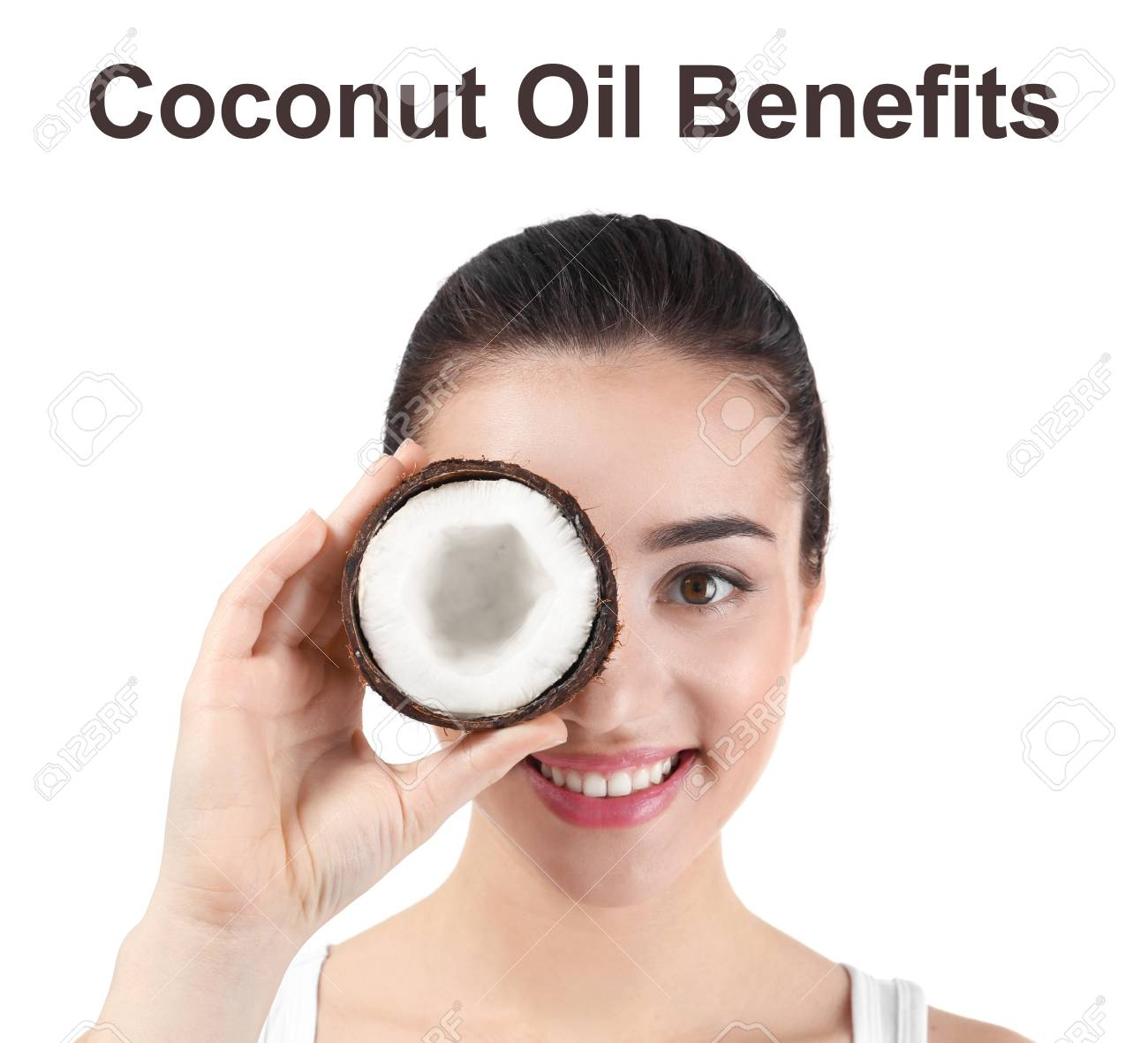 Text COCONUT OIL BENEFITS and young woman holding nut on white