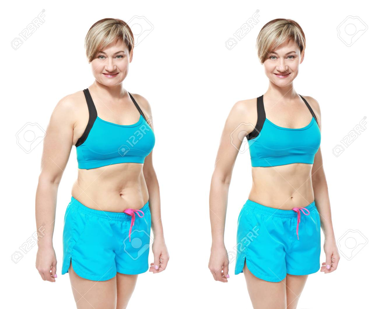 Mature Woman Before And After Weight Loss On White Background
