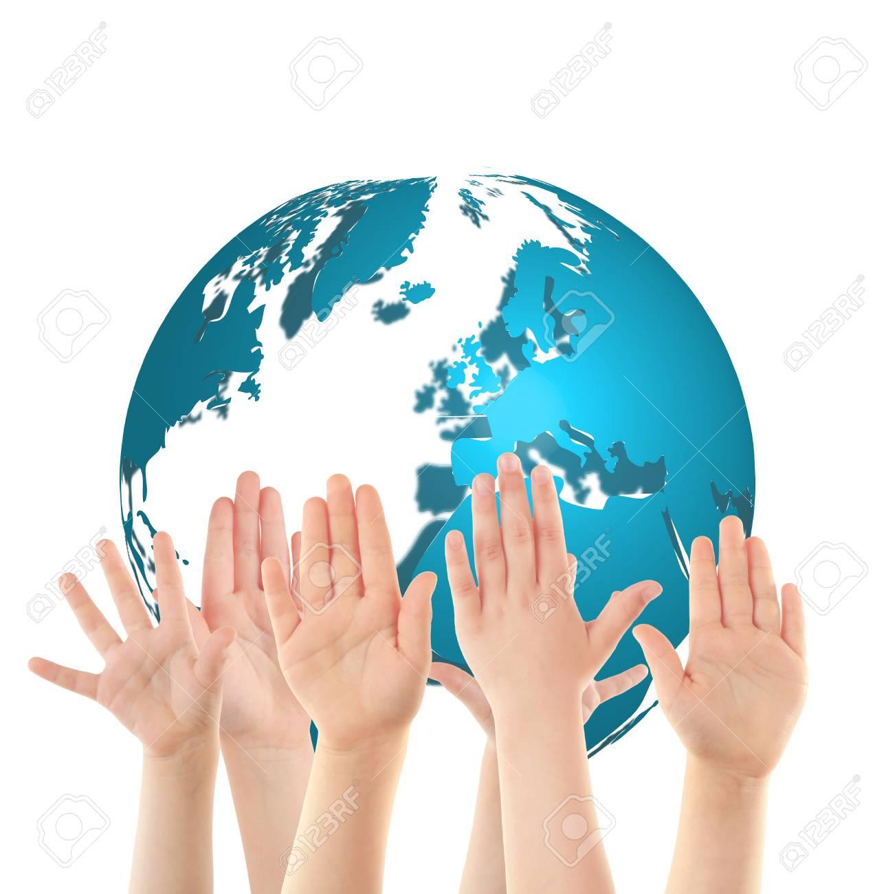 Children raising hands and globe on white background  Concept