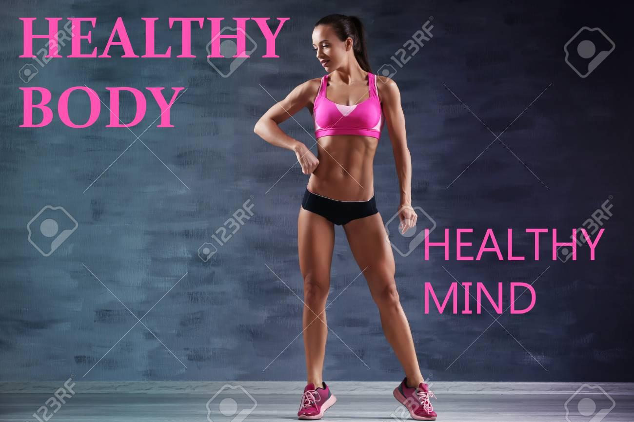 Fitness Quotes Text Healthy Body Healthy Mind And Young Woman