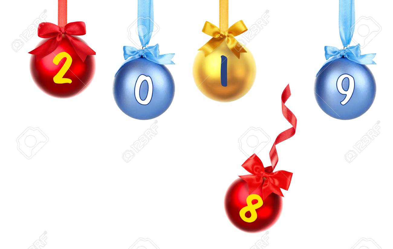 Christmas Countdown 2019.New Year 2019 Changing 2018 On White Background Countdown Celebration