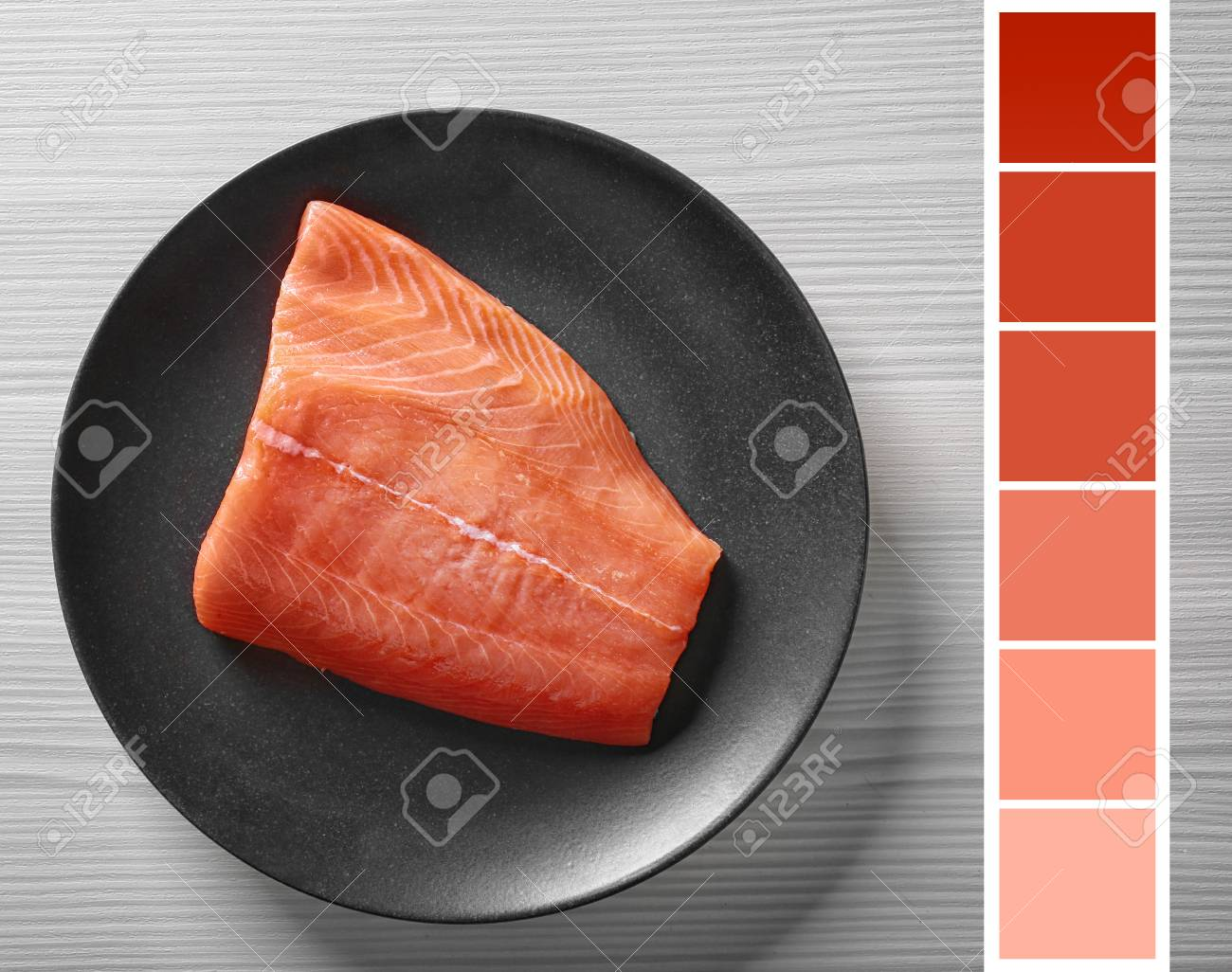 Salmon Color Lineal And Fish Fillet On Plate Stock Photo, Picture ...