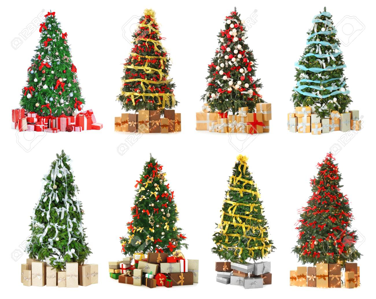 Collage Of Beautiful Christmas Trees On White Background. Trendy ...