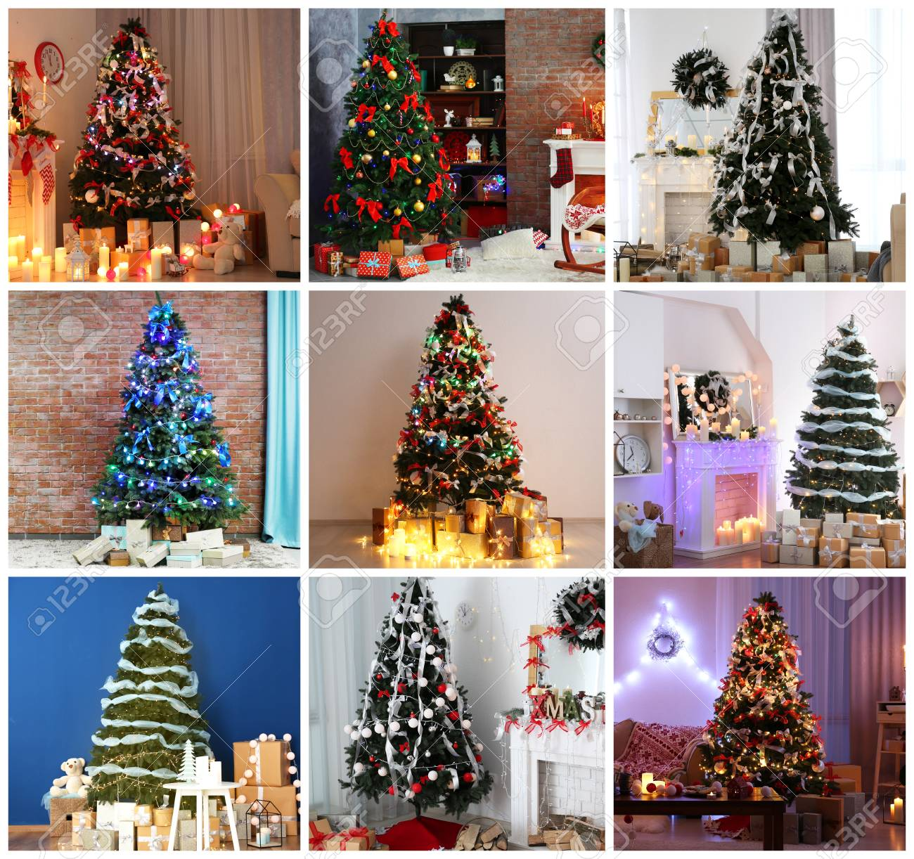 At Home Christmas Trees.Collage Of Beautiful Christmas Trees At Home Trendy Ideas For