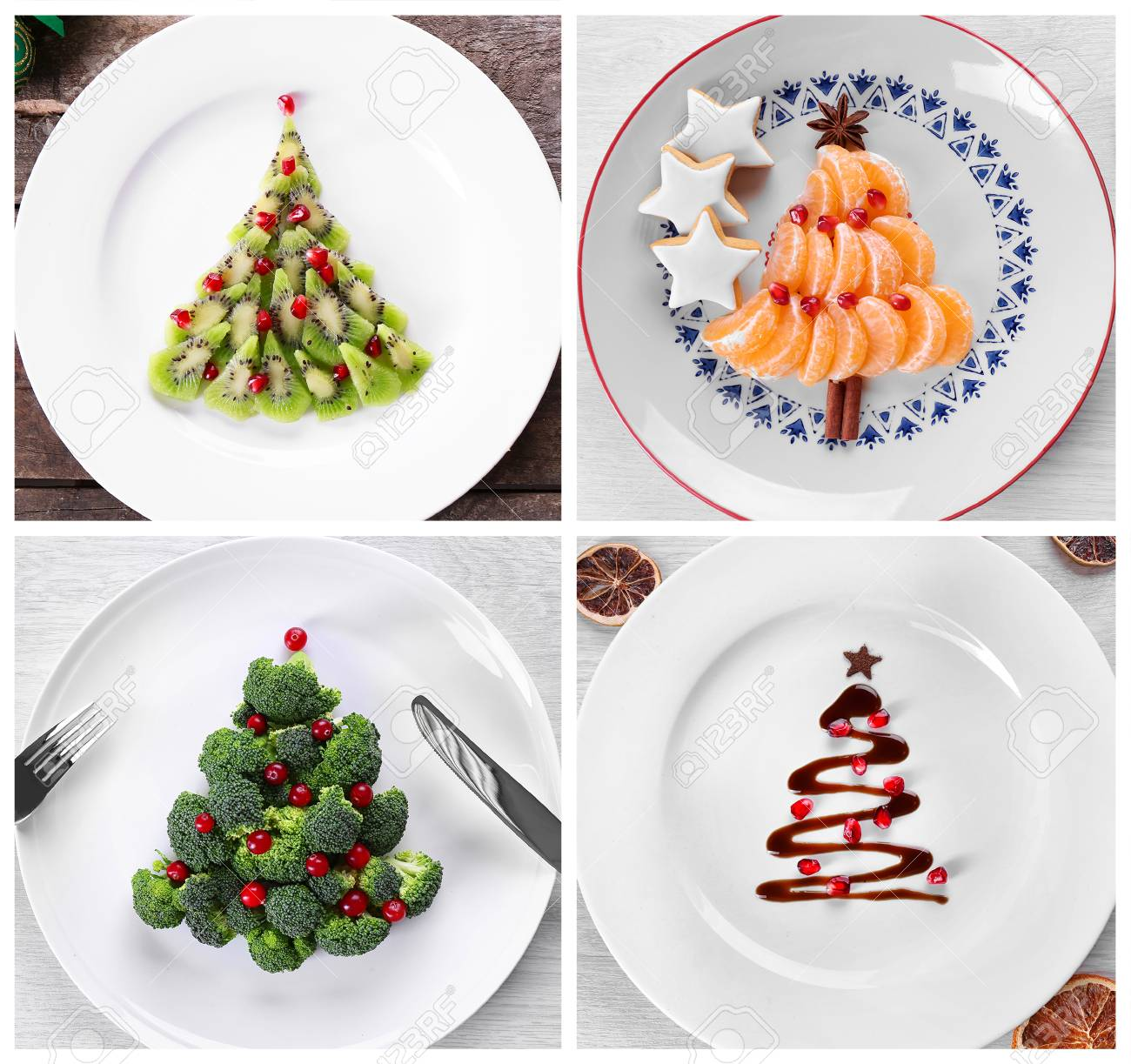 Collage Of Christmas Trees Made Of Food On Plates. Trendy Ideas ...