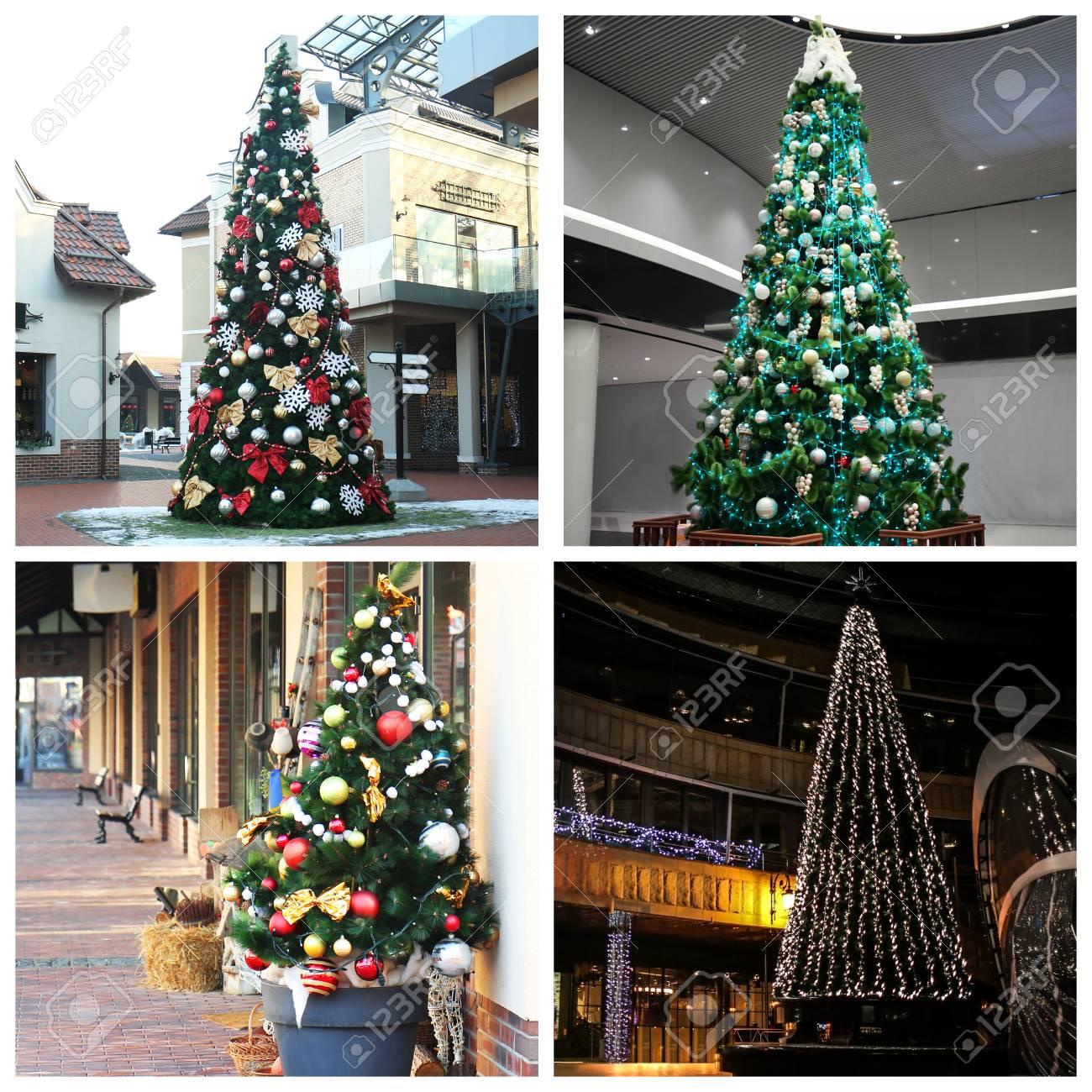 Alberi Di Natale Bellissimi.Collage Di Bellissimi Alberi Di Natale Idee Alla Moda Per Decorazioni Festive 00