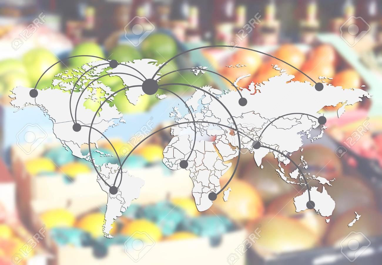 Carte Du Monde Avec Réseau Logistique Et Fruits En Arrière Plan