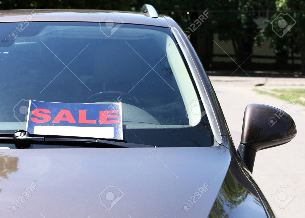 For Sale Sign On Windshield Of Car Stock Photo Picture And Royalty