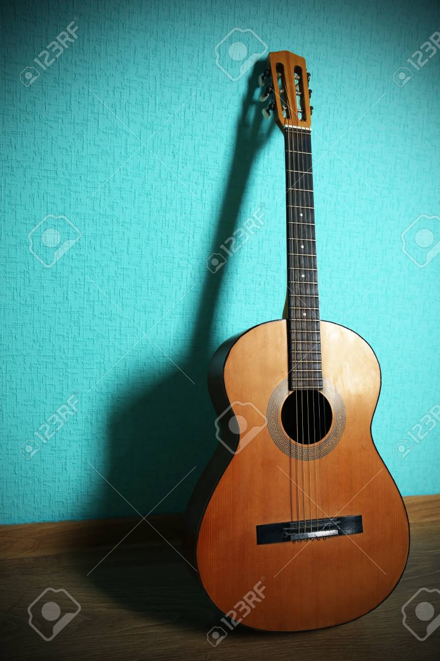 Classical Guitar On Turquoise Wallpaper Background