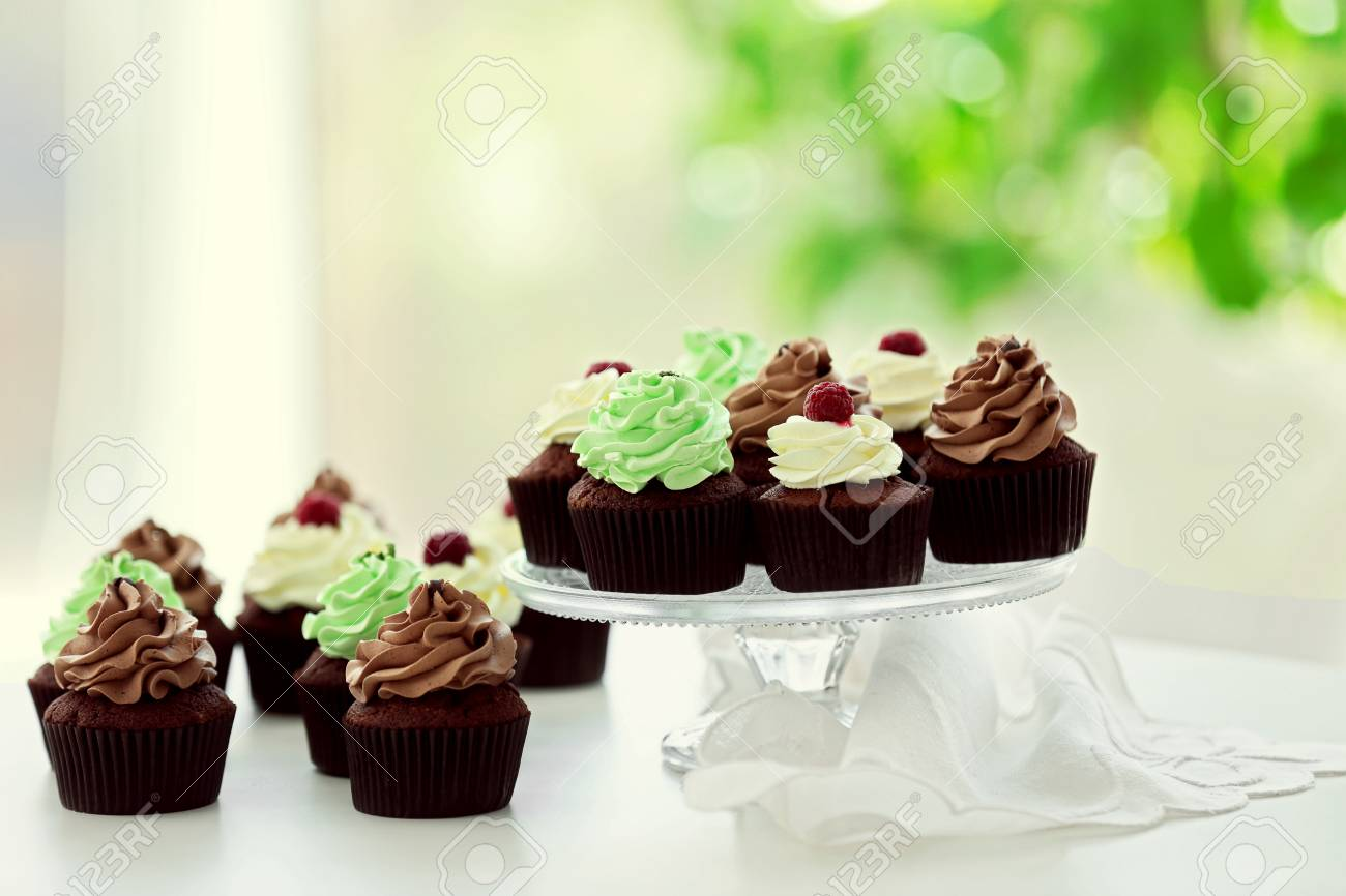 Beautiful Chocolate Cupcakes On Table Close Up Stock Photo Picture