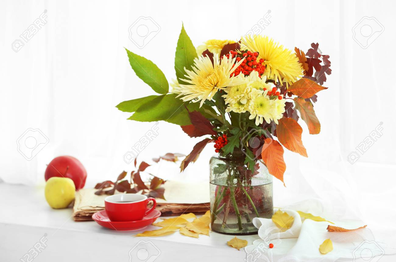 Beautiful Autumn Bouquet With Chrysanthemums Flowers On Windowsill