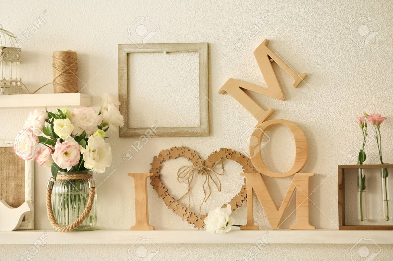 Wooden Decor And Flowers For Mother\'s Day On A Shelf Stock Photo ...
