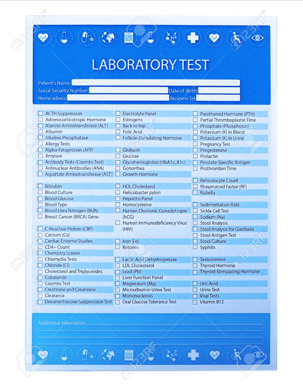 Laboratory test list isolated on white background, close up