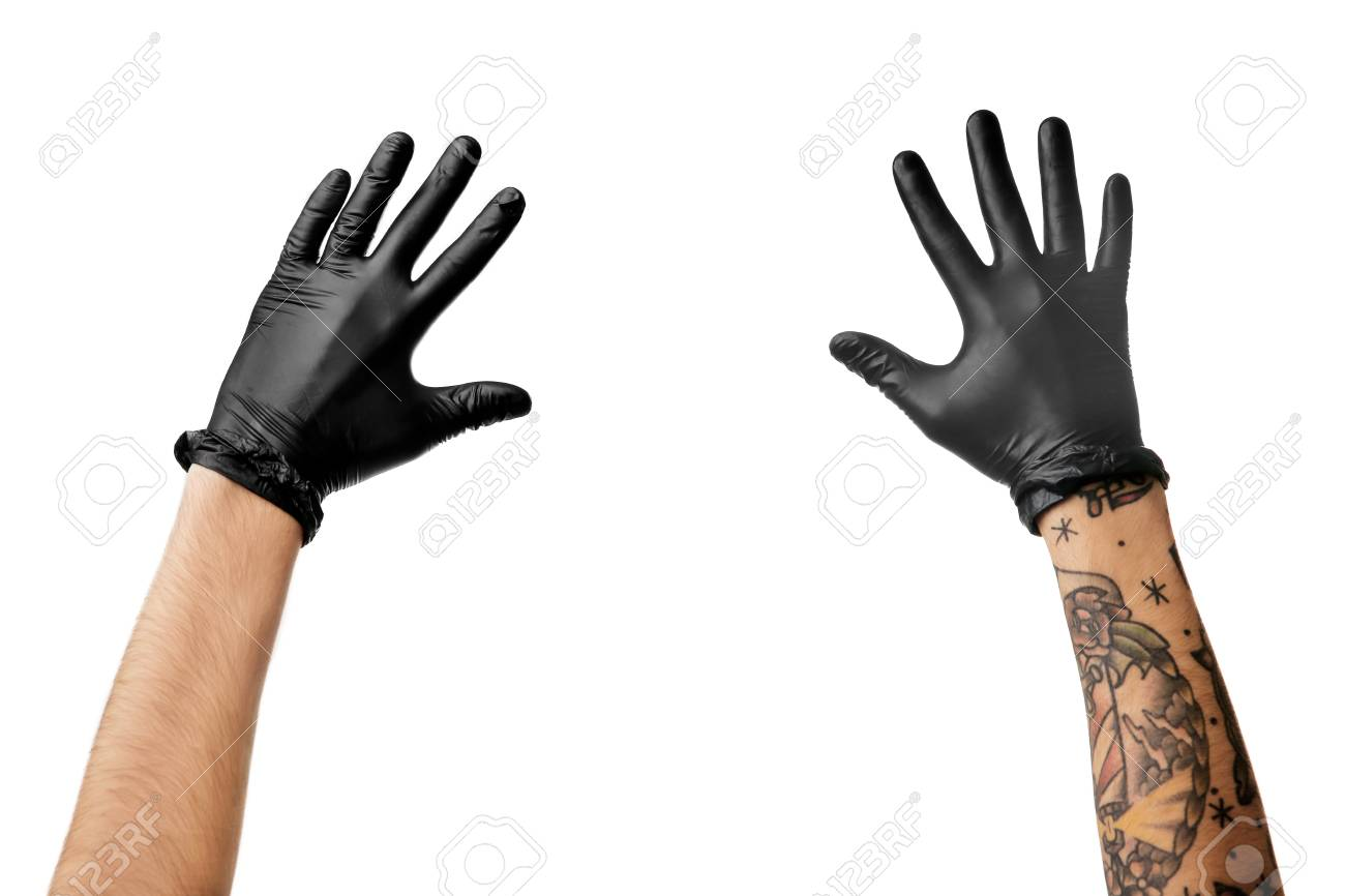 Mans Hands With Tattoo In Black Latex Gloves Stock Photo Picture