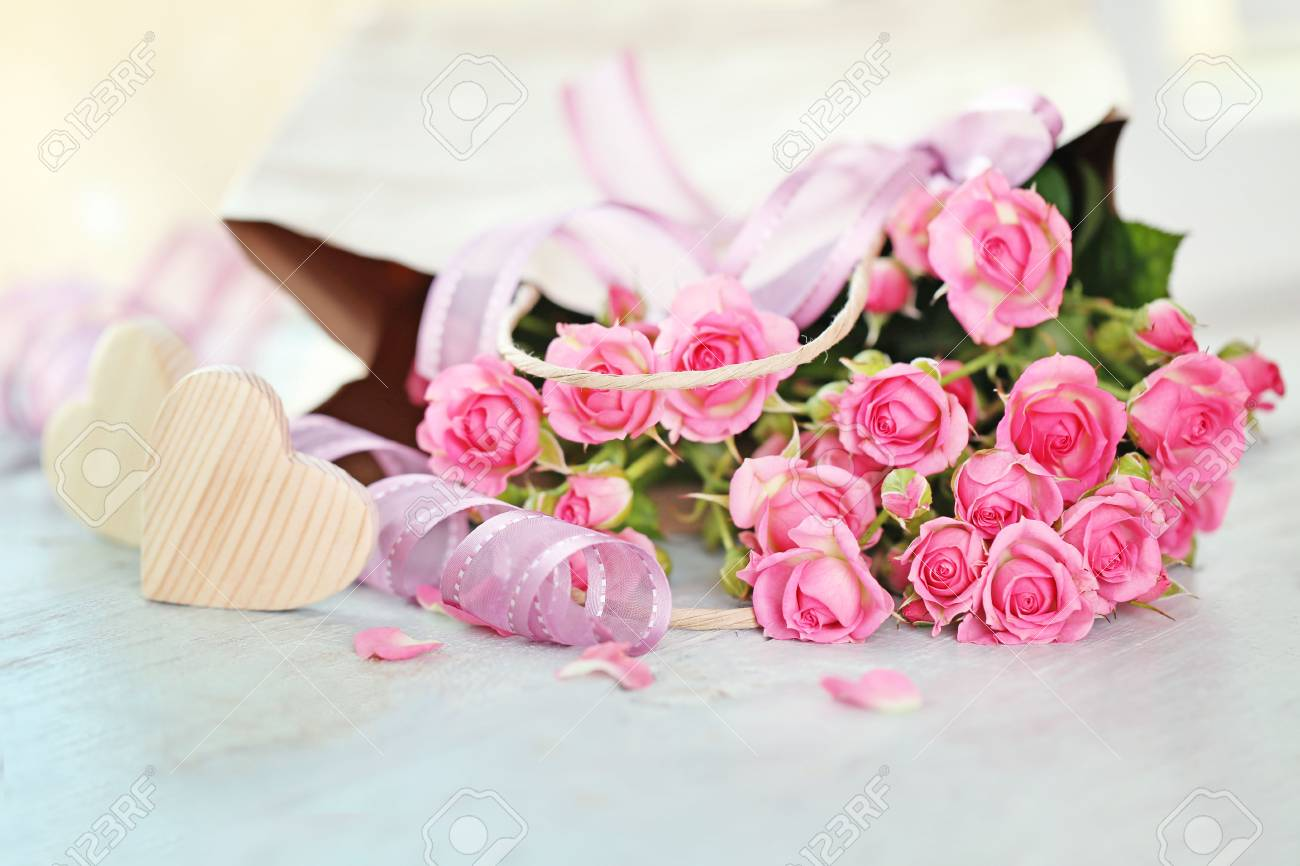 Beautiful Romantic Composition With Flowers St Valentines Day