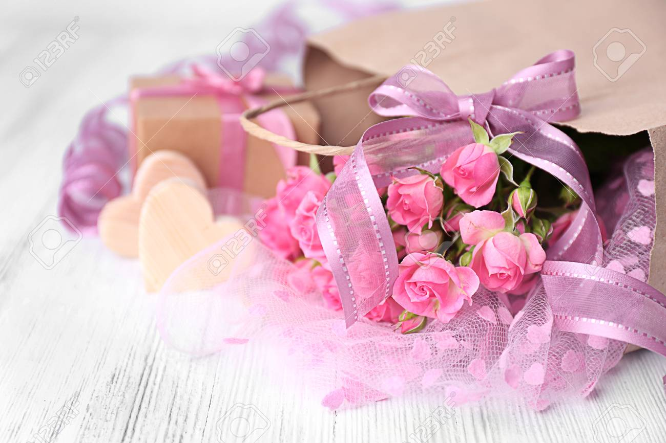 Beautiful romantic composition with flowers st valentines day beautiful romantic composition with flowers st valentines day background stock photo 95449801 izmirmasajfo